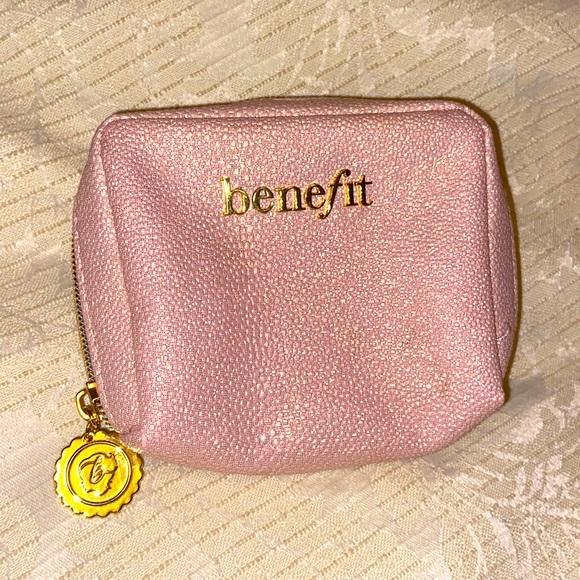 Benefit pink sparkle makeup bag